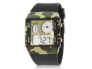 Men's Camouflage Green Design Multifunctional Digital Dual Time Zones Wrist Watch