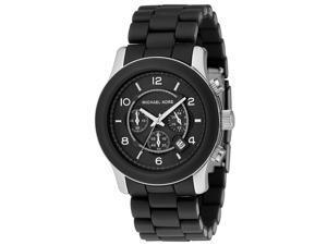 Michael Kors Runway Chronograph Black Polyurethane & Stainless Steel Bracelet