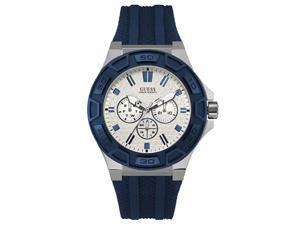 GUESS MENS FORCE 45MM BLUE SILICONE BAND STEEL CASE QUARTZ WATCH W0674G4