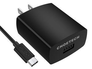 CHOETECH 18W Quick Charge 3.0 Fast Charger with USB A to USB Type C Cable for LG G5, HTC 10 and More