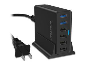 CHOETECH Qualcomm Quick Charge 3.0 Desktop Multi USB Charging Station with Micro USB Cable and Charger Holder for Samsung Galaxy S6/S7/Edge, iPhone, iPad and More
