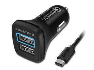 CHOETECH Quick Charge 3.0 USB Type C Car Charger, 30W Dual USB Car Charger with USB C Cable for Galaxy S8, S8 Plus LG G6, G5, HTC 10, Samsung, iPhone, iPad and more