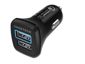 CHOETECH 30W Quick Charge 3.0 Fast Car Charger Dual USB Ports with Micro USB Cable for Samsung Galaxy S7/S6/Edge, iPhone, iPad and more