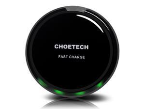 CHOETECH Circle QI Fast Charge Wireless Charger for Samsung Galaxy S7, S7 Edge, Note 5, Note 7, S6 Edge+ and All Qi-Enabled Devices - Black