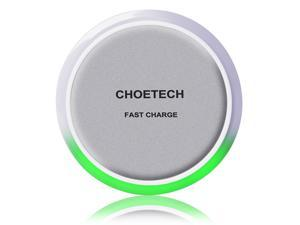 CHOETECH QI Fast Charge Wireless Charging Pad (with Smart Lighting Sensor) for Samsung Galaxy S7, S7 Edge, Note 5, Note 7, S6 Edge+ and Other Qi Enabled Mobile Phones - White