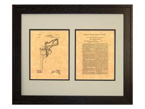 Recoil Operated Firearm Patent Art Print in a Rustic Oak Wood Frame