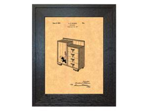 Design For A Chifforobe Patent Art Print in a Rustic Oak Wood Frame