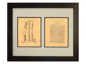 Browning Recoil-operated Firearm Patent Art Print in a Rustic Oak Wood Frame