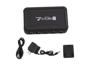 Black 7 Ports High Speed USB 2.0 Splitter Powered AC Adapter HUB For PC Computer