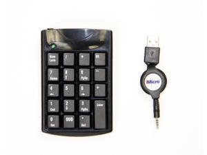 Black Imicro Retractable Numeric USB Mini Keypad, Model: KB-KEYPADR