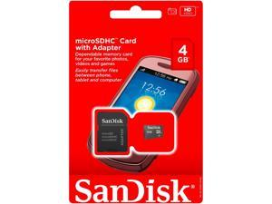 SanDisk 4GB Micro SD SDHC TF Flash MicroSD Memory Card + Adapter