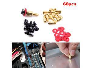20x Computer Screws Motherboard Standoffs/ Screws/ Washers Kit 60pcs