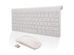 Slim 2.4GHz Wireless Keyboard & Mouse USB Receiver Combo Set Kit White