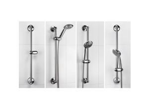 "HotelSpa® AquaCare series Insta-mount Power Suction 24"" Stainless Steel Height/Angle Adjustable Shower Slide Bar"
