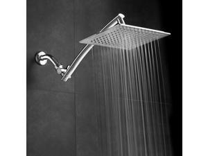 "Razor™ Mega Size 9"" Chrome Face Square Rainfall Shower with Arch Design 15"" Stainless Steel Extension Arm"