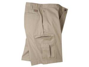 DICKIES LR542DS36 Cargo Shorts, Poly/Cotton Twill, Khaki, 36