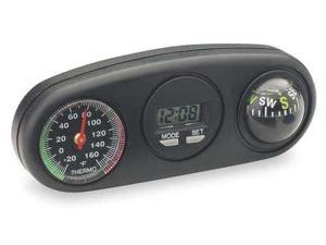 BELL 34204-8 Clock/Compass/Thermometer, Indicator, Blk