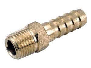 ANDERSON METALS 707001-0402 Male Hose Barb, 1/8 In.Pipe, 1/4 In.Barb