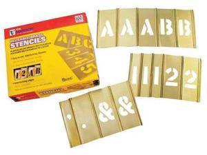 C.H. Hanson - 10151 - Stencil Kit, A-Z, 0-9, $, & and Punctuation, 2, Brass, 1 EA
