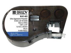 BRADY M-61-483 Label Cartridge, Black/White, 2 In. W
