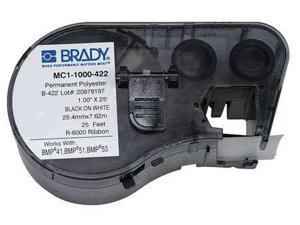 BRADY MC1-1000-422 Label Cartridge, Black/White, Polyester