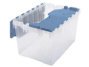 Attached Lid Container, Clear/Blue ,Akro-Mils, 66486CLDBL