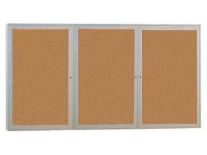 GHENT PA34872K Enclosed Bulletin Board, Cork, 72x48 In.
