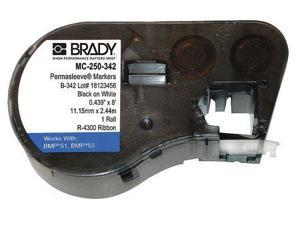 BRADY MC-250-342 Wire Marker Sleeves, Black/White