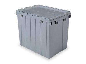 Gray Attached Lid Container, 17 gal Capacity, 39170, Akro-Mils