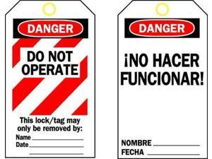 BRADY 65671 Danger Bilingual Tag, 5-1/2 x 3 In, PK25