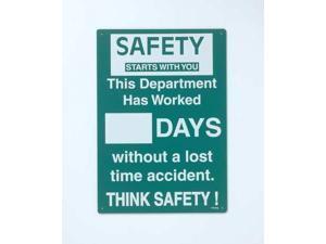 "Safety Scoreboard, Brady, SM793E, 20""Hx14""W"