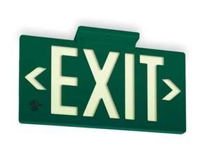 JESSUP MANUFACTURING 7040-B Exit Sign, 8-3/4 x 15-3/8In, WHT/GRN, Exit