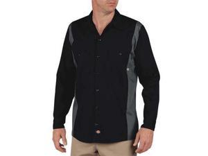 DICKIES LL524BK/CH LT Work Shirt, Long Sleeve, Black Charcoal, LT