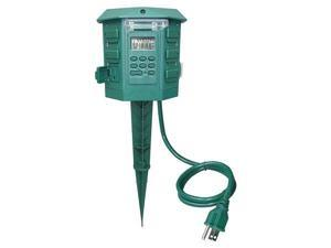 POWER FIRST 21RJ27 Outdoor Yard Stake, 6 Outlet, 120V