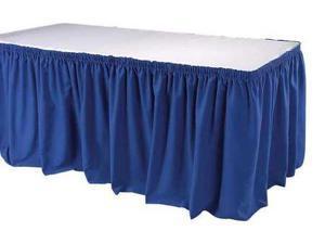 PHOENIX TSKT21BL Table Skirting,211/2 Ft.,Shirred,Blue