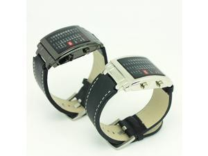 Unisex Watch Multicolor Light Leather Digital Quartz LED Watch with Week Date Display 8231-Black/Silver Dial
