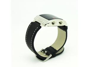 Multicolor Light LED Watch Unisex Watch with Week Date Display Leather Watchband 8231-Silver Dial