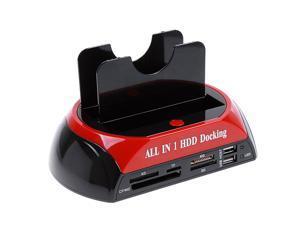 "WLX-875 2.5"" 3.5"" SATA/IDE 2 Double Dock HDD Docking Station eSATA/USB Hub External Storage Enclosure Parts With Plug"