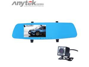 Anytek T10 Novatek 96655 Car DVR 5 inch Mirror Full HD 1080P Dual Lens Car Camcorder Rearview Mirror