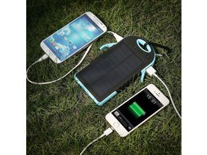 Blue/Black Waterproof 12000mAh Power Bank External Battery Solar Power Charger for iPhone Samsung Portable Outdoor Dual-USB