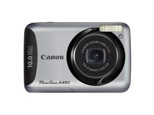 Canon PowerShot A490 10MP 3.3x Optical Zoom 2.5 LCD Screen Digital Camera Silver
