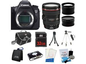 Canon EOS 6D DSLR Camera + 24-105mm IS Lens + 32GB + Card Reader + 2 Tripod + Case + Cleaning Kit + More