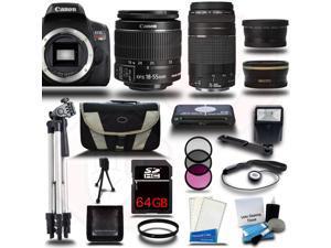 Canon Rebel T6I 700D + 18-55mm + 75-300mm 4 Lens Kit Bundle + 64GB + Card Reader + Flash + Case + More