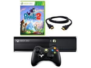 Microsoft Black Xbox 360 4GB Gaming Console w/ Wireless Controller HDMI and Peggle 2 Game Bundle