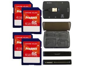 Dane-Elec 4GB Pro 200X Class 4 SDHC SD Flash Memory Card 4PK + 72 in 1 Multi Card Reader Bundle