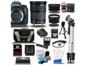 Canon EOS 6D SLR Camera w/ 24-105mm IS Lens 64GB 24PC Bundle Kit + Extra Battery + Tripod - New