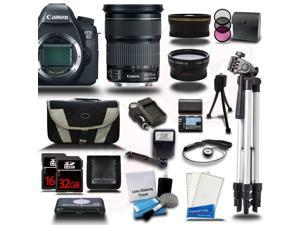 Canon EOS 6D SLR Camera w/ 24-105mm IS Lens 48GB 24PC Bundle Kit + Extra Battery + Tripod - New