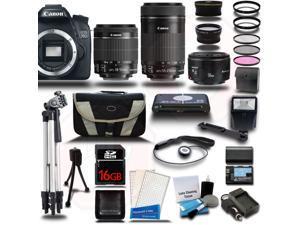 Canon EOS 70D DSLR Camera w/ 18-55mm + 55-250 + 50mm 5 Lens Premium Kit + 16GB