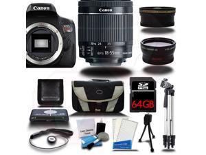 Canon Rebel T6I 700D Digital SLR Camera +18-55mm 3 Lens Kit Bundle + 64GB + Reader + Case - NEW
