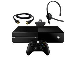 Microsoft Xbox One Black 500GB HD Next Gen Gaming Console + Wireless Controller + Headset + HDMI - Game & Kinect Camera Not Included
